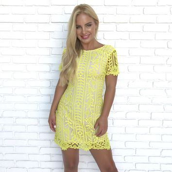 Last Forever Neon Yellow Crochet Dress