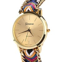 Tonsee New Women Knitted Braided Weaved Rope Band Bracelet Quartz Dial Wrist Watch