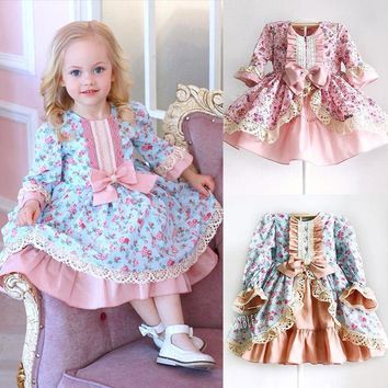 Lace Bowknot Ruffles Dress Baby Girl Party Dresses