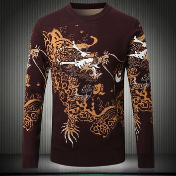 Autumn Mens Sweaters Animal  Pattern Thick Men Casual Sweater Brand Clothing Men`s Slim Knitwear Male Knitting Pullovers