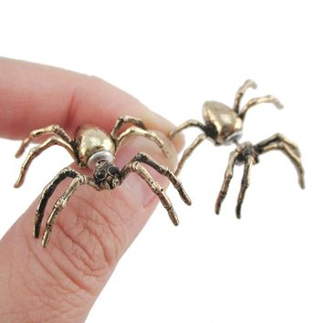 3D Realistic Spider Tarantula Bug Shaped Front and Back Stud Earrings in Brass