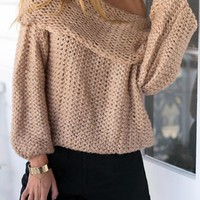 Khaki Off Shoulder Chunky Long Sleeve Knitted Sweater