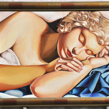 """Master copy, art deco, hand made oil painting, copy after Tamara Lempicka """"Sleeping Girl"""", reproduction, original oil painting on canvas."""