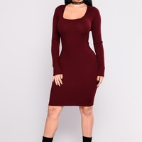 Zayla Knit Dress - Burgundy