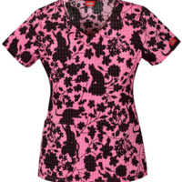 Floral Cat Print Scrub Top for Women
