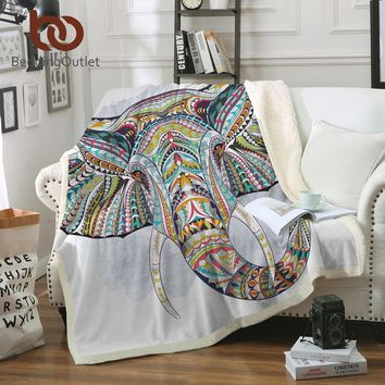 BeddingOutlet 3D Elephant Sherpa Throw Blanket Bohemia Stripes Bedclothes Colorful Printed Indian Bed Blankets Sofa Cover
