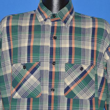 80s Big Mike Plaid Flannel Men's Work shirt Large