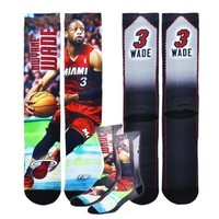 Mens Miami Heat Dwyane Wade Mega Mesh Player Quarter-Length Socks
