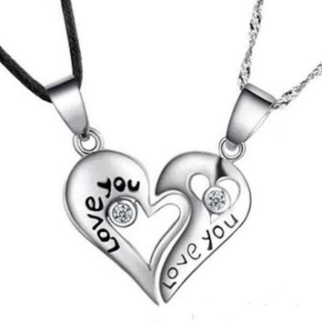 DCCKIX3 Fashion silver 'LOVE YOU' heart-shaped pendant necklace Couples Necklace (2 pcs a set) = 1929667588