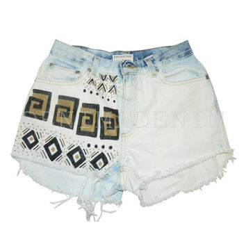 Custom Tribal Gold And Black High Waisted Denim Shorts