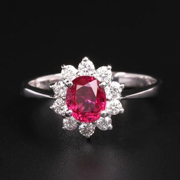 Robira 1 CT Women's 18K Gold Diamond & Natural Red Ruby Princess Diana Engagement Ring