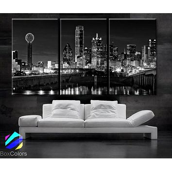 "LARGE 30""x 60"" 3 Panels Art Canvas Print beautiful Dallas tx Skyline Black & White Wall Home (Included framed 1.5"" depth)"