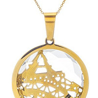 Stainless Steel Goldtone Paris Inspired Eiffel Tower in Stone Adjustable 18 Inch Link Necklace