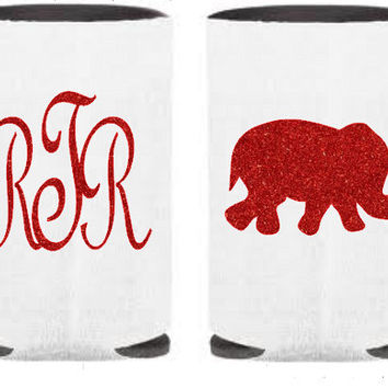 Design Your Own Custom Glitter Monogram Koozie, Glitter Elephant, Monogram Koozie, Can Koozie, Personalized Koozie