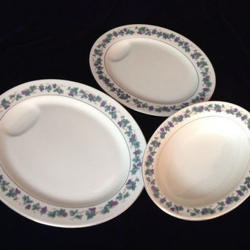 "Great Grapes! Theodore Haviland ""Arbor"" Set of 2 Platters & Bowl - Charming Wedding/Engagement/Shower/Birthday/Housewarming Gift"