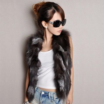 Fur Story 020201 New Women's Vest Real Fur Vest Female Fashion Patches Style Silver Fox Fur Coat