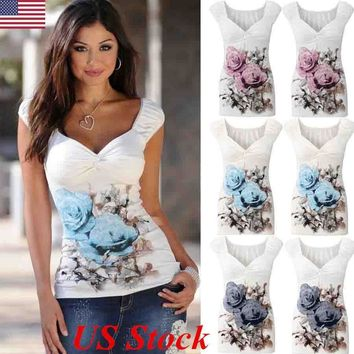 USA Womens V Neck Floral Vest T-Shirt Ladies Summer Casual Tank Tops Blouse Top