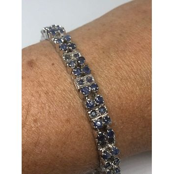 Handmade Genuine Sapphire and White Sapphire Rhodium Finished 925 Sterling Silver Tennis Bracelet