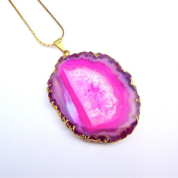 Gold plated agate slice necklace - pink agate necklace - agate jewelry - agate geode necklace from Sparkle City Jewelry