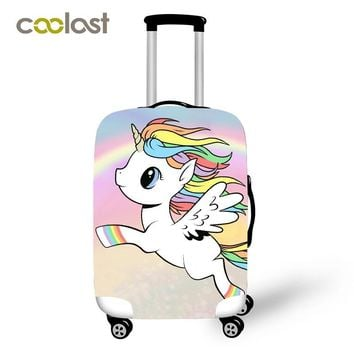 Cartoon Unicorn Travel Luggage Protective Covers Women Cute bagages roulettes Girls Rainbow Clouds Suitcase Travel Accessories