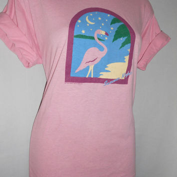 Vintage 80s Pink Flamingo Summer Nights T Shirt Size Adult Large 1986 Soft as a Grape Brand
