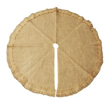 Burlap Tree Skirt Round Ruffled Edge, Natural, 48-Inch