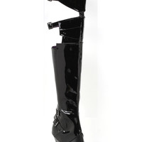 Thigh High Black Patent Stripper Boots