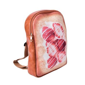 High quality small soft PU leather backpack for girls cute toast bread school bags soft surface zipper travel backpacks 2017 NEW