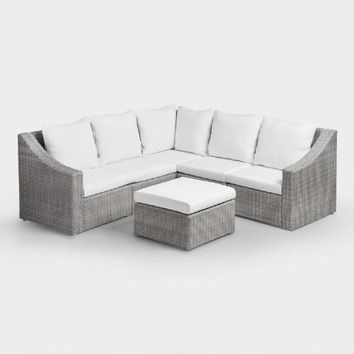 Gray All Weather Wicker Veracruz Sectional Corner Chair