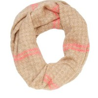 Fuzzy Neon-Striped Infinity Scarf by Charlotte Russe - Natural Combo
