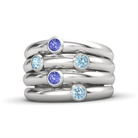 Sterling Silver Ring with Aquamarine & Tanzanite - Quintet Ring