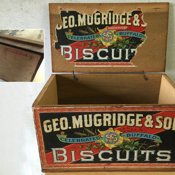 Geo. Mugridge and Son Biscuits Crate / Early 1900's Wooden Crate / General Store Display / Vintage Storage / Primitive Rustic Decor