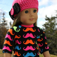 18 inch doll clothes, moustache print sweater, denim mini skirt, crochet pink beanie hat with bow, american girl, maplelea