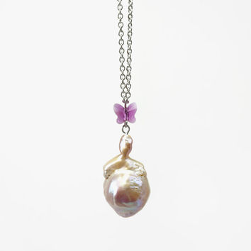 Big Momma Baroque Pearl Necklace with Pink Butterfly Swarovski Crystal, Stainless Steel Chain, Cute Gift Idea for Mom