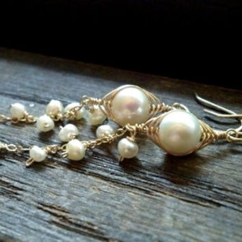 14k Gold Pearl Cascade Drops: 14k Gold Filled Wire Wrapped Freshwater Pearls and Herringbone Wire Woven Bridal