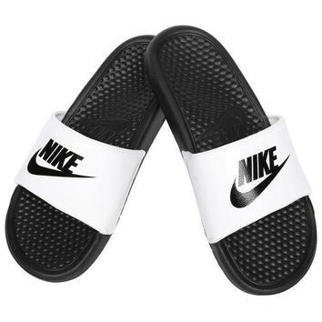 ... best place 010ee 380c7 CREYDC0 Nike Benassi JDI Mens Slide White Black  Slipper 343880 ... 5dc4382e3e