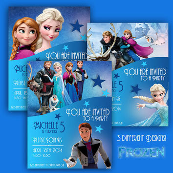 Frozen - Birthday Invite Cards - 3 different designs - High Quality 300 DPI- Customized -Party Printables