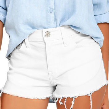 Off-Road White Cutoff Denim Shorts