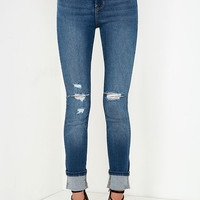 Rollas Eastcoast Medium Wash Distressed High-Waisted Jeans