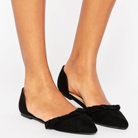 New Look Suedette Ruffle Flat Shoes at asos.com