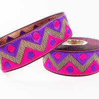 Hot Pink Purple Zig Zag Dott Motif Woven Embroidered Jacquard Trim Ribbon - 1 Meter  or 3.3 Feet or 1.09 Yards
