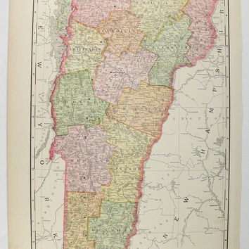 Antique Vermont Map 1897 Vintage Map of Vermont, VT Map Office Gift for Coworker, Vermont Gift for Parents, Vermont Decor, Vintage Wall Art