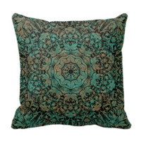 Vintage Copper Patina Floral Pattern Throw Pillow