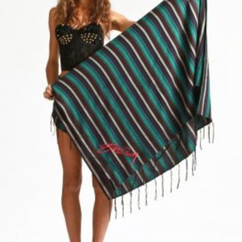 stussy - women''s stevie fringed beach throw (multi) - Stussy | 80's Purple