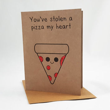 Pizza Card, Funny Card, Funny Greeting Card, Greeting Cards, Pun Card, Cute Card, kawaii