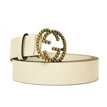 Gucci Gold Studded Interlocking GG Logo Buckle Ivory Off White Leather Belt 282323