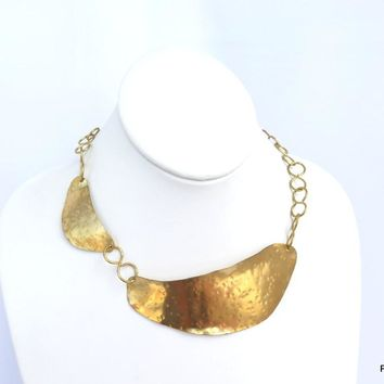 Gold Hammered Brass Collar, Artisan Asymmetric Neck Piece