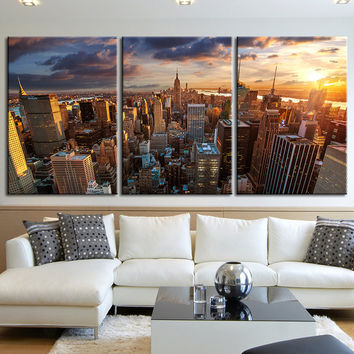 Extra Large Wall Art Canvas Print + Skyline Panorama New York Cityscape Canvas Print + Aerial view of New York Canvas Art Printing