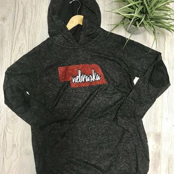 Nebraska Elbow Patch Hoodie