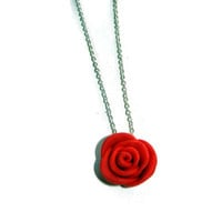 Red Polymer Clay Flower Charm Necklace